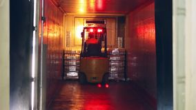 Forklift truck shipping packaged of milk bottles. Dairy industry. Milk delivery. Forklift truck shipping packaged milk bottles. Forklift working in warehouse stock video