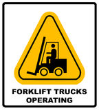 Forklift truck sign. Symbol of threat alert. Hazard warning icon. Black lift-truck with the silhouette of a man emblem Royalty Free Stock Photo