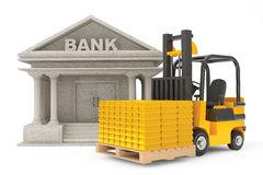 Forklift Truck with Stacked Golden Bars near Bank Building Stock Photos