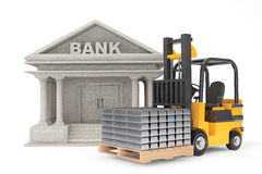 Forklift Truck with Stacked Silver Bars near Bank Building Royalty Free Stock Images