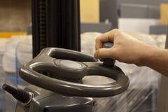 Forklift truck steering wheel Stock Images