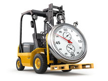 Forklift truck with stopwatch .Express delivery concept. Royalty Free Stock Photo