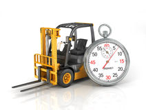 Forklift truck with stopwatch. Stock Photo