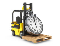 Forklift truck with Stopwatch Stock Image