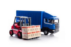 Forklift truck toys with boxes Stock Photo