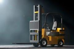 Forklift Truck in the volumetric light. 3d Rendering Royalty Free Stock Image