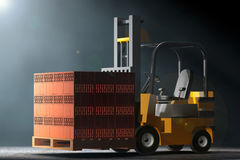 Forklift Truck in the volumetric light. 3d Rendering Royalty Free Stock Photo