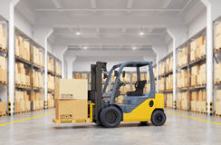 Forklift truck in warehouse. Stock Images