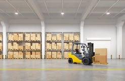 Forklift truck in warehouse. 3d illustration Stock Image