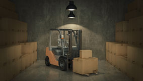 Forklift truck in warehouse or storage loading cardboard boxes. 3d Royalty Free Stock Photos