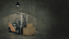 Forklift truck in warehouse or storage loading cardboard boxes. 3d Royalty Free Stock Photography