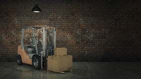 Forklift truck in warehouse or storage loading cardboard boxes. 3d Stock Photos