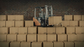 Forklift truck in warehouse or storage loading cardboard boxes. 3d Royalty Free Stock Photo