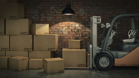 Forklift truck in warehouse or storage loading cardboard boxes. 3d Stock Images
