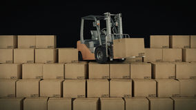 Forklift truck in warehouse or storage loading cardboard boxes. 3d Stock Photography
