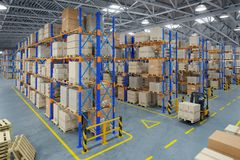 Forklift truck in warehouse or storage and shelves with cardboard boxes stock photos