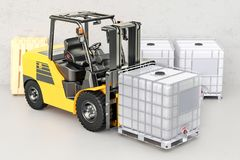 Forklift truck with white intermediate bulk container, 3D render. Forklift truck with white intermediate bulk container, 3D Stock Photos