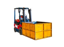 Forklift truck on white isolate background with clipping path. Stock Photo