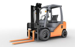 3d rendering forklift truck on white background. Forklift truck on white isolated background. 3d illustration Royalty Free Stock Photos