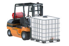 Forklift truck with white water tank on pallet Stock Photography