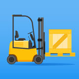 Forklift truck with wooden crate. On blue background Royalty Free Stock Image