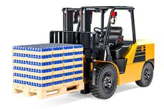 Forklift truck with wooden pallet full of drink metallic cans in. Shrink film, 3D rendering isolated on white background Stock Photos