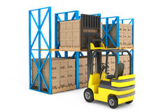 Forklift truck work in warehouse Stock Photography