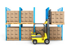 Forklift truck work in warehouse Royalty Free Stock Photos