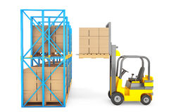 Forklift truck work in warehouse Stock Images