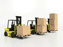 Forklift trucks carrying boxes. Royalty Free Stock Photography