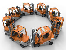 Forklift trucks circular pattern. 3D rendered illustration of multiple forklift trucks arranged in a circular pattern. The composition is isolated on a white stock illustration