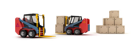 Forklift trucks and goods isolated Royalty Free Stock Photography
