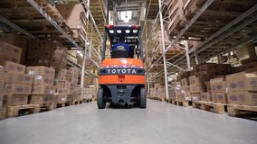 Forklift Trucks Move Between Large Metal Shelves