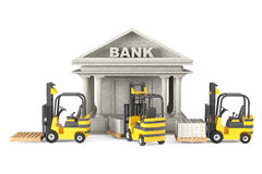 Forklift Trucks moves Stacked Dollars in Bank Building Royalty Free Stock Photo