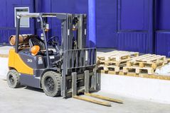 Forklift trucks for moving goods in warehouses. stock photography