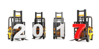 Forklift Trucks with 2017 New Year Sign. 3d Rendering. Forklift Trucks with 2017 New Year Sign on a white background. 3d Rendering Vector Illustration