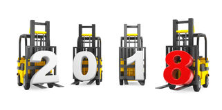 Forklift Trucks with 2018 New Year Sign. 3d Rendering Royalty Free Stock Photo