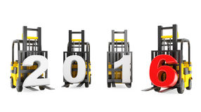 Forklift Trucks with 2016 New Year Sign Royalty Free Stock Photo