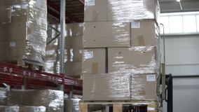 Forklift Trucks unload Pallets with Cardboard Boxes at modern warehouse. Forklift Trucks Move Between Large Metal Shelves at a Modern Warehouse and Unload stock video