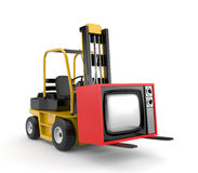 Forklift with TV Stock Photos