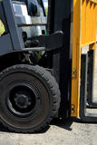 Forklift tyre. A close up look of forklift tyre Stock Photos