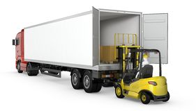 Forklift unloads or loads white blank semi-trailer Stock Images
