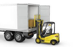 Forklift unloads or loads white blank semi-trailer stock image