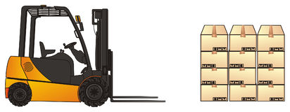 Forklift with wall of boxes Stock Images
