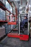 Forklift in a warehouse stock images