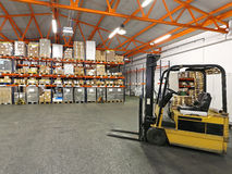 Forklift in warehouse Royalty Free Stock Image