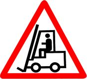 Forklift warning red triangular road sign stock photos