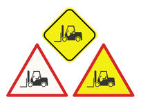Forklift warning signs. In a variety of design shapes Royalty Free Stock Image