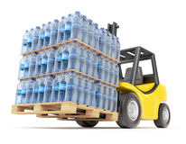 Forklift with water PET bottles Royalty Free Stock Photography