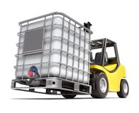 Forklift with water storage tank stock illustration
